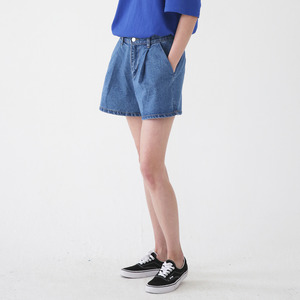 WASHING WRINKLES DENIM SHORTS ASP182002-BL