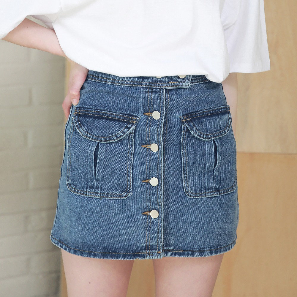 TWO POCKET BUTTON DOWN DENIM SKIRT ASK192003-BL