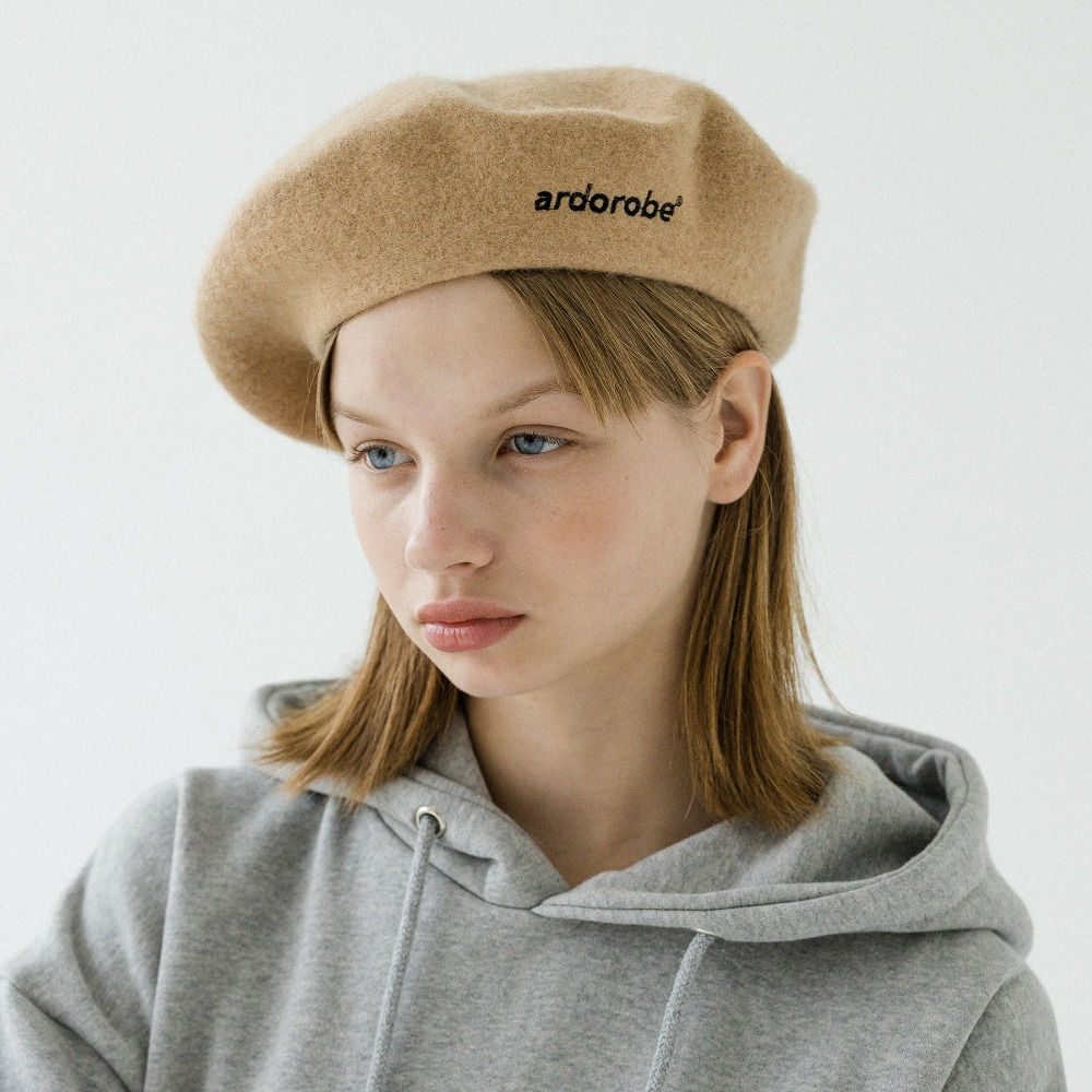 LOGO EMBROIDERY WOOL BERET AAC193002-BG
